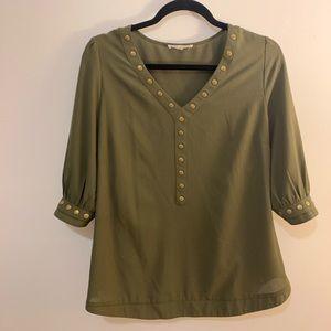 Hunter green detail blouse